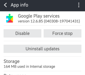 Disable the Google Play services