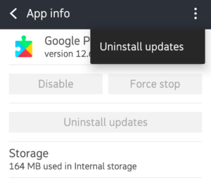 Reinstall Google Play services updates